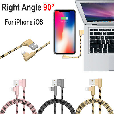 2.4A Right Angle 90 Degree Lightning Charger Cable Angled iPhone X 8 7 6 Plus 5