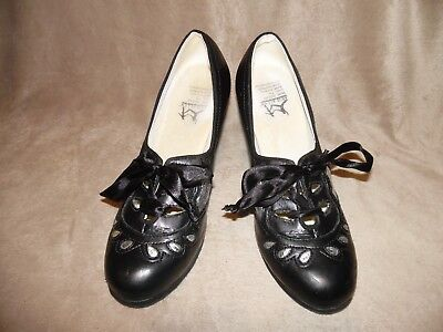 Aris Allen 2077-BS Womens 1930s Black/Silver Lace-up Heeled Oxford Shoes Sz 7.5