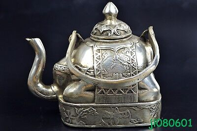 fine Collectible China Old Copper Silver handwork elephant decorate BIG Teapot