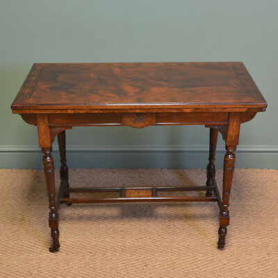 Striking Arts And Crafts Victorian Figured Rosewood Inlaid Side / Games Table By