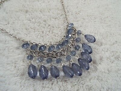 Silvertone Blue Acrylic Bead Scoop Bib Necklace (B3)