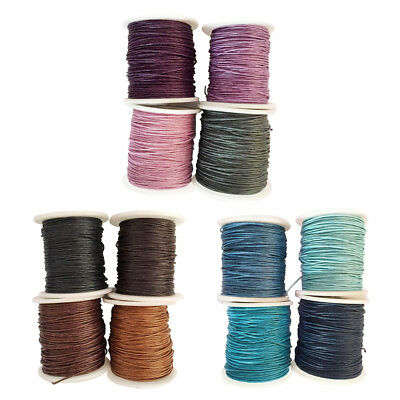 4 Roll 1mm Waxed Cotton Macrame Cord Thread Rope String Wire DIY Jewelry Finding