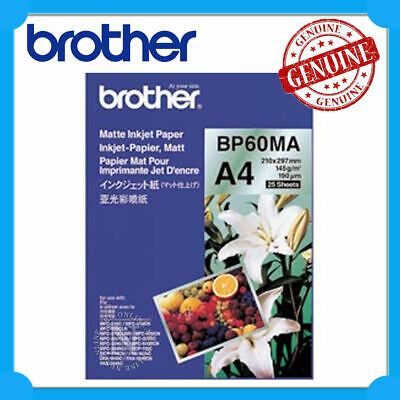 Brother Genuine BP60MA A4 Matte Inkjet Paper (25 Sheets) 145GSM 210mm x 297mm