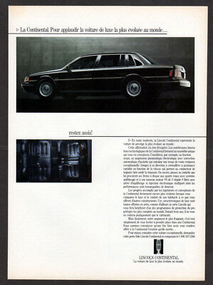 1988 LINCOLN Continental Vintage Original Print AD Luxury black car photo canada