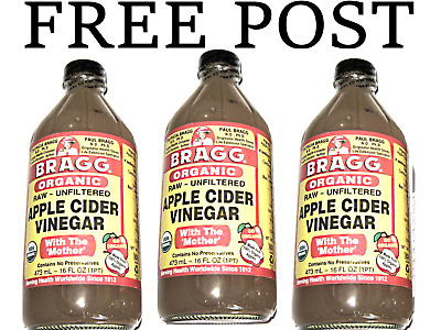 3 x Bragg Organic Apple Cider Vinegar 473ml with The Mother , Raw & Unfiltered