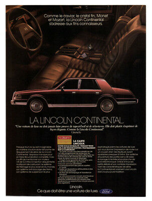 1986 LINCOLN Continental Vintage Original Print AD - Interior car photo canada