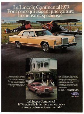 1979 LINCOLN Continental Vintage Original Print AD Yellow car photo canada plane