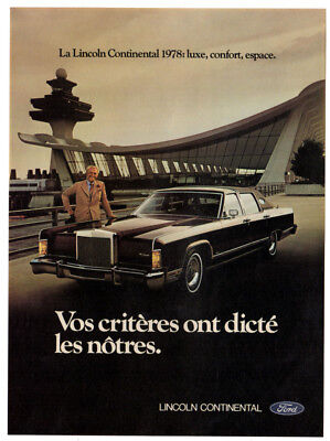 1978 LINCOLN Continental Vintage Original Print AD Black car airport French ca