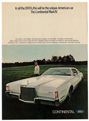 1972 LINCOLN Mark IV Vintage Original Print AD - White car photo english canada