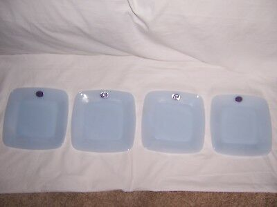 "4 FIRE KING Delphite AZURITE BLUE SQUARE CHARM 8 3/8"" LUNCHEON PLATES W/ LABELS"