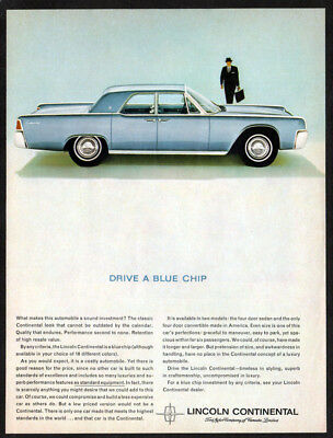 1963 LINCOLN Continental Vintage Original Print AD Blue car photo english chip