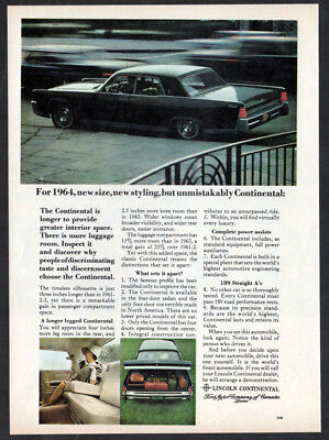 1964 LINCOLN Continental Vintage Original Print AD Black car photo english ca