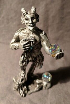 Vintage Sun Glo Miniature Pewter Sculpture God of Nature Pan with Crystals