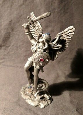 Vintage Sun Glo Signed Miniature Pewter Sculpture Valkyrie with Crystals