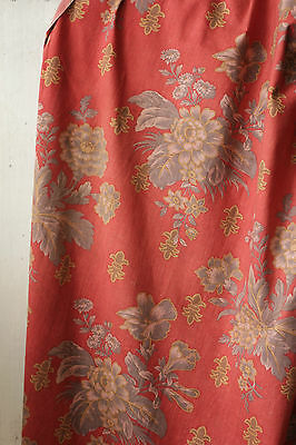 Antique French curtain drape cotton  Napoleon 111 red gray grey floral timeworn