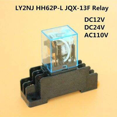 DC12V - AC110V Coil Power Relay DPDT LY2NJ HH62P-L JQX-13F W/ PTF08A Socket Base