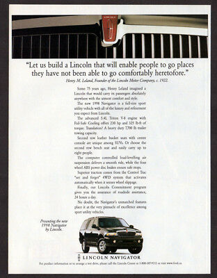 1998 LINCOLN Navigator Vintage Original Print AD - Black car photo 4WD canada