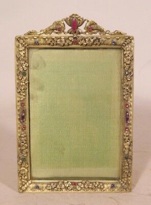 Antique Fancy Brass w Glass Jewels Easel Back Picture Frame