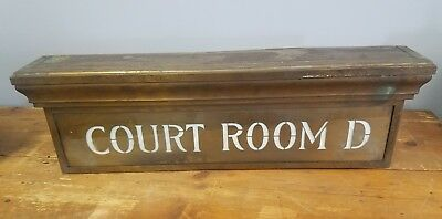 """1940s Brass Courthouse """"Court Room D"""" Light Up Sign"""