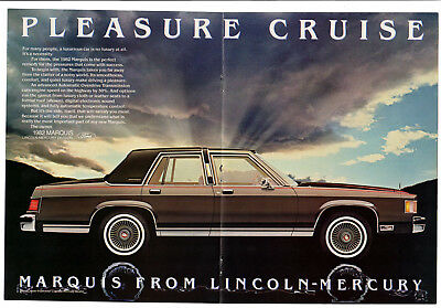 1982 LINCOLN Marquis Vintage Original Print AD centerfold Mercury car photo en