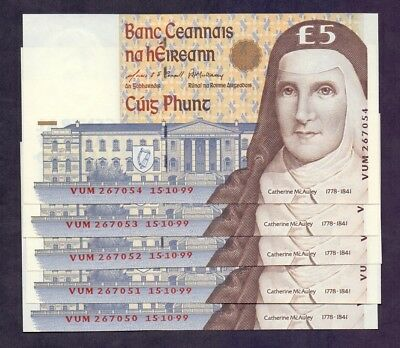 5 Pounds From Ireland 1999 Unc 5 Pcs With Consecutive Numbers