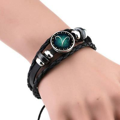 Unisex 12 Constellation Zodiac Round Leather Bangle Bracelet Fashion Jewelry