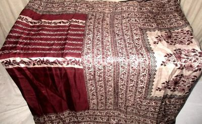 Maroon Coffee Pure Silk 4 yard Vintage Sari Saree SALE DEAL London buying #90CIK