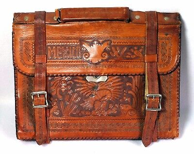 Vintage hand tooled leather Mexican souvenir briefcase bag mayan calendar