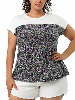 donne Plus Size Dolman Sleeve Shirt Stampa Sheer superiore floreale