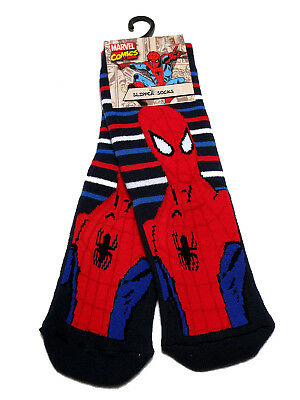Young Boys Spider-Man Striped Slipper Socks Uk Size  12.5-3.5 / 7-10 Years