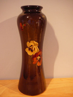 """OWENS POTTERY PANSIES FLORAL VASE 10 1/2"""" tall"""