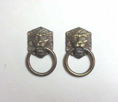 Vintage Lion Head Draw Pulls With Rings (2 Lot)      L@@k