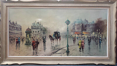 French School Signed Cortes City Street Scene Impressionist Vintage Painting