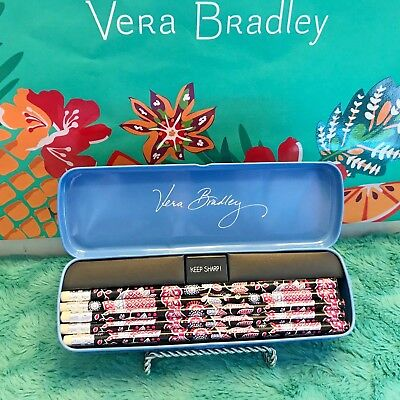 "Vera Bradley Set Of 10 Pencils W/sharpener And Tin ""alpine Floral"" Nwt"