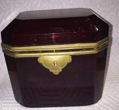 Fine Antique French Dark Red Ruby Cranberry Glass Deep Box