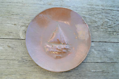 Original Arts and Crafts copper wall dish plaque charger sailing yacht boat