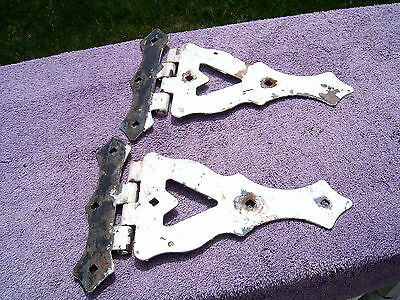 Pair Large Vtg Gate Door Hinges Shabby Painted *free Shipping*