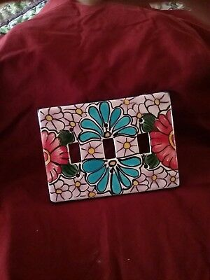 TALAVERA Mexican triple switch plate cover, pottery