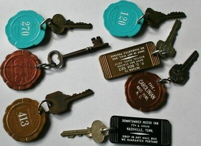 VINTAGE KEY CHAIN Lot of 7 FOB DROP IN ANY MAILBOX Hotel Motel