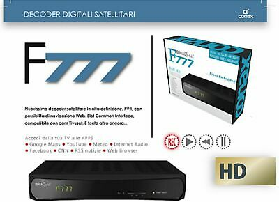 Decoder Sat Hd S2 Digiquest F777 Linux,compatibile Tivusat 12/220 Volt Ci+