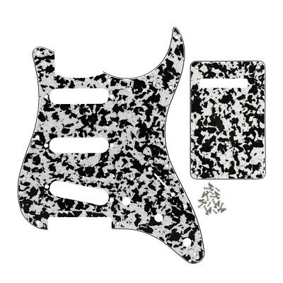 Set of 4Ply Black / White Agate SSS Pickguard & Back Plate for FD Strat Guitar