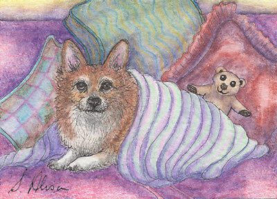 Pembroke Welsh corgi dog orig ACEO mini painting Susan Alison thinking of spring