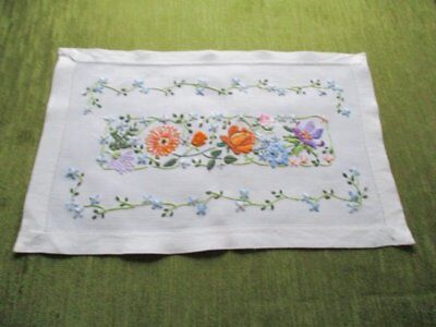 Vintage Tray Cloth -  Hand Embroidered Floral Design - Linen