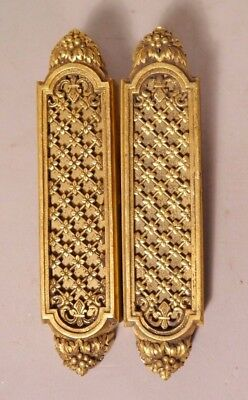 Pair Of Fine Quality Antique French Style Gilt Bronze Pocket Door Slide Handles