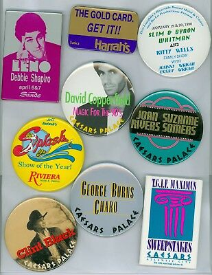 9 Vintage 80s-90s Casino Headliner Advertising Pinback Buttons Copperfield Leno
