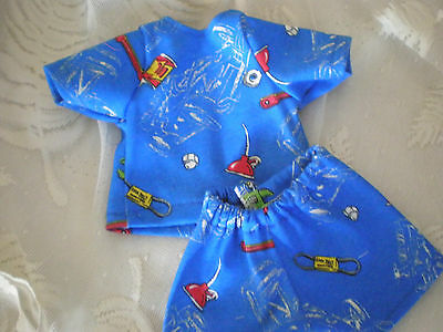 BABY ALIVE DOLL CLOTHES SHORT SET BITTY BABY SHADES OF BLUE with car items
