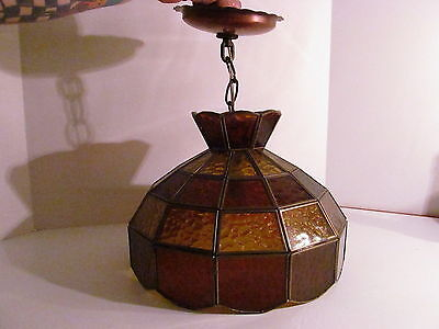 Vintage Tiffany Style Leaded Stained Glass Hanging Lamp Amber/Yellow