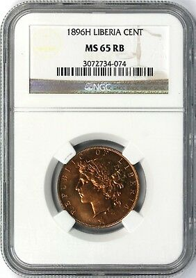1896H Liberia Cent NGC MS65 RB