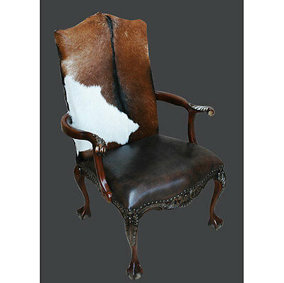 Chippendale Western Cowhide Arm Accent Mahogany Chair,29'' x 47''H.