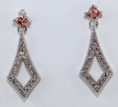 2CT Padparadscha Sapphire 925 Solid Genuine Sterling Silver Earrings Jewelry
